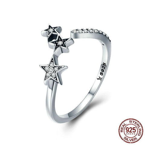 100% Authentic 925 Sterling Silver Stackable Star  Adjustable Finger Ring for Women Sterling Silver Ring Gift