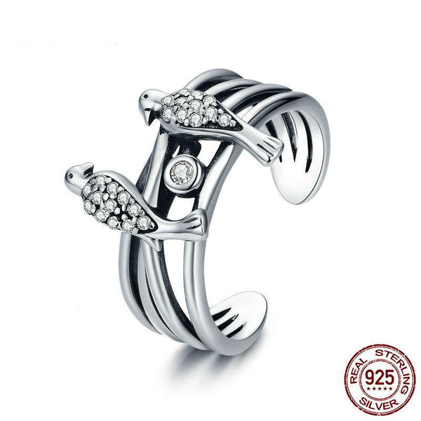 New Collection 925 Sterling Silver Magpie Family Story Finger Rings for Women Sterling Silver Ring