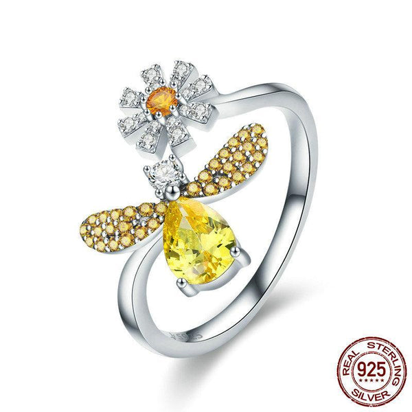 100% Authentic 925 Sterling Silver Fashion Bee with Daisy Flower Open Size Finger Ring for Women Party Ring
