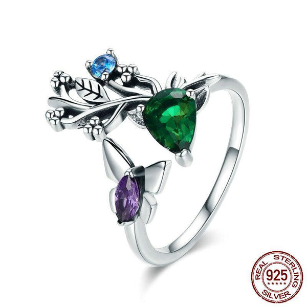 New Arrival 100% 925 Sterling Silver Butterfly in Spring Garden Crystal CZ Ring for Women Sterling Silver Ring