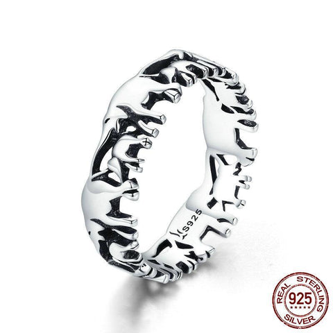 Trendy 100% 925 Sterling Silver Stackable Animal Collection Elephant Family Finger Rings for Women Silver Ring