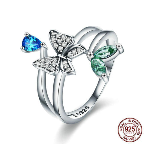 Fashion Authentic 925 Sterling Silver Butterfly of Spring Finger Rings for Women Sterling Silver Ring Ring Gift SCR353