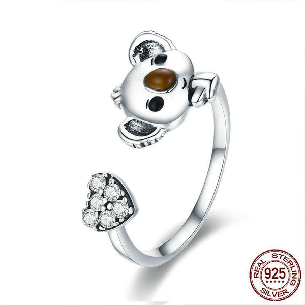 Animal Collection Real 925 Sterling Silver Lovely Koala Shape Adjustable Open Size Ring Sterling Silver Ring