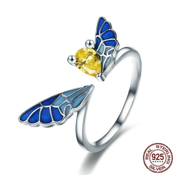New Trendy 100% 925 Sterling Silver Lovely Butterfly Fairy Adjustable Open Size Ring Women Sterling Silver Ring