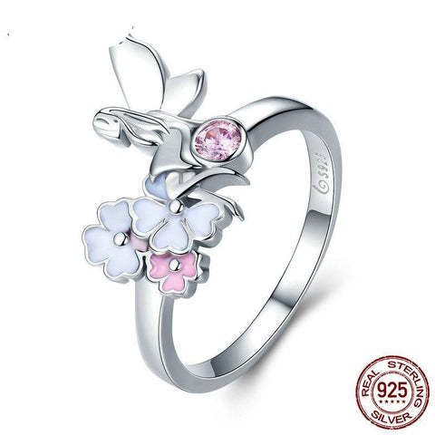 Romantic 100% 925 Sterling Silver The Flower Fairy & Pink CZ Crystal Finger Ring Women Sterling Silver Ring