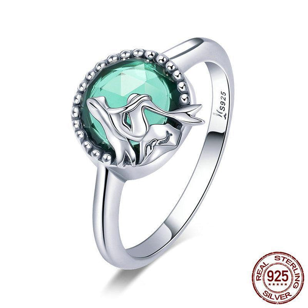 New Trendy 100% 925 Sterling Silver Romantic Story Legend Green CZ Finger Ring Women Sterling Silver Ring