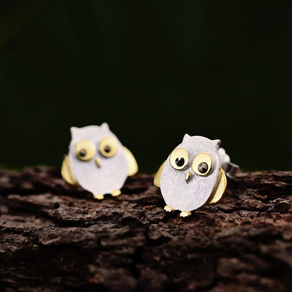 Real 925 Sterling Silver Natural Creative Handmade Designer Fine Jewelry Ctue Owl Stud Earrings for Women Brincos