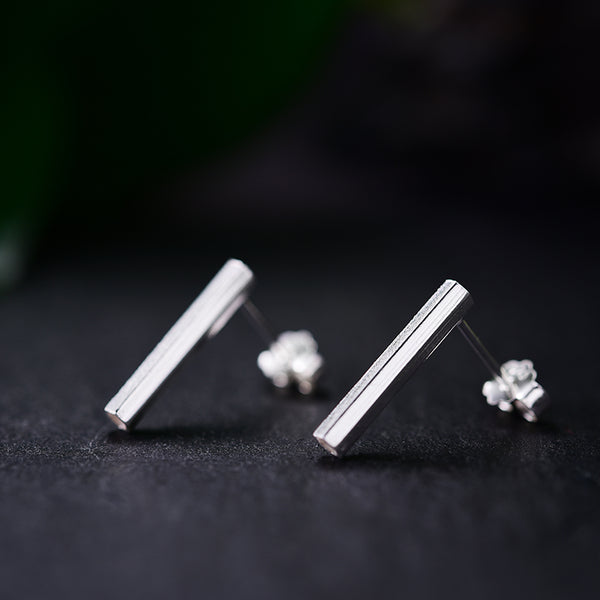 Real 925 Sterling Silver Natural Creative Handmade Fine Jewelry Simple Hexagonal Prism Stud Earrings for Women Brincos
