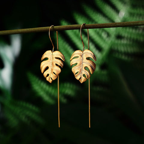 Real 925 Sterling Silver Handmade Fine Jewelry Creative Monstera Leaves Design Dangle Earrings for Women Bijoux