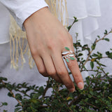 Real 925 Sterling Silver Natural Stone Creative Handmade Designer Fine Jewelry Spring in the Air Leaves Female Rings