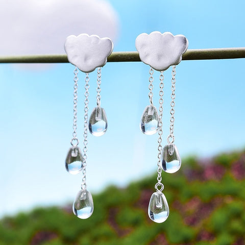 Real 925 Sterling Silver Natural Handmade Fine Jewelry Ethnic Cloud Long Tassel Dangle Earrings for Women Brincos
