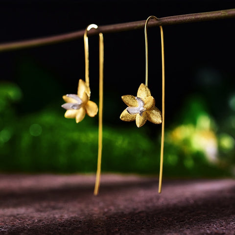 Real 925 Sterling Silver Natural Original Handmade Fine Jewelry Cute Blooming Flower Fashion Drop Earrings for Women