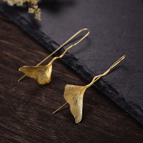 Real 925 Sterling Silver Natural Handmade Designer Fine Jewelry Vintage Ginkgo Leaf Drop Earrings for Women Brincos