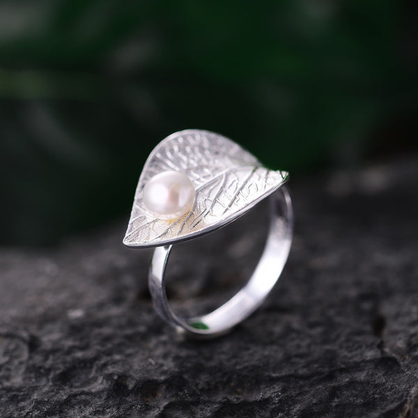 Real 925 Sterling Silver Natural Pearl Handmade Designer Fine Jewelry Creative Open Ring Leaf Rings for Women Bijoux