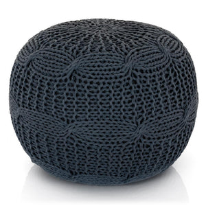 Grey Knit Pouf - Lincove