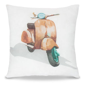 Motorbike Print Square Pillow - Lincove