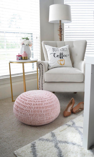 Load image into Gallery viewer, Pink Knit Pouf