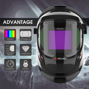 Auto Darkening, Solar Powered, Panoramic View Welding Helmet | Q800D - YesWelder