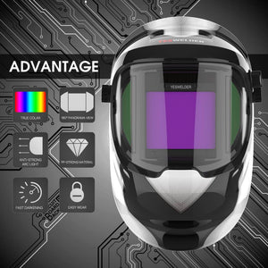 Auto Darkening Welding Helmet with Panoramic View | Q800D-A - YesWelder