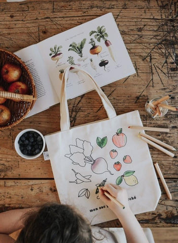 colour your own grocery tote bag at kinsfolk shop