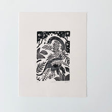 Load image into Gallery viewer, Forager Linocut Print 9.75 x 7.75