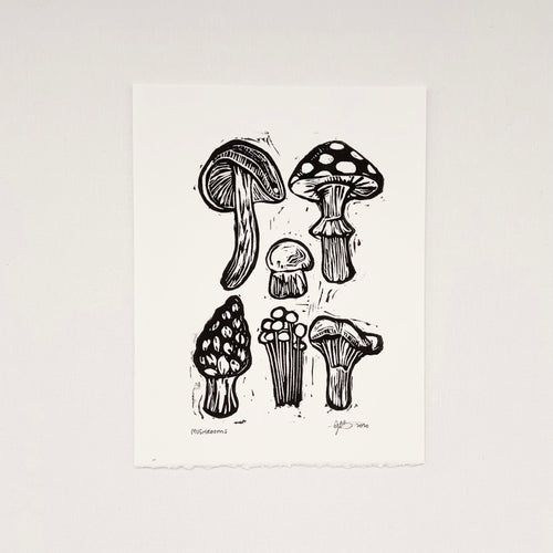 Mushrooms 6x8 Block Print