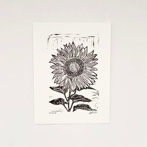 Single Sunflower 6x8 Block Print