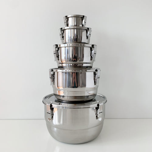 Airtight Stainless Steel Bowls with Lids