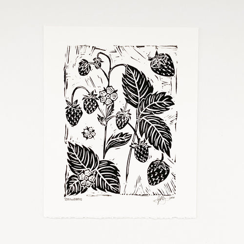 Strawberries 8x10 Block Print