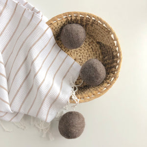 Brown Wool Dryer Balls Set of 3