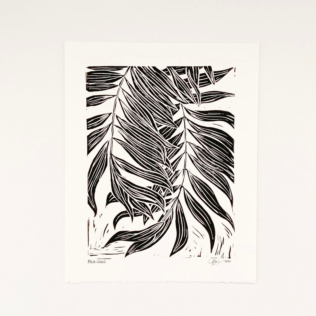 Palm Leaves 8x10 Block Print