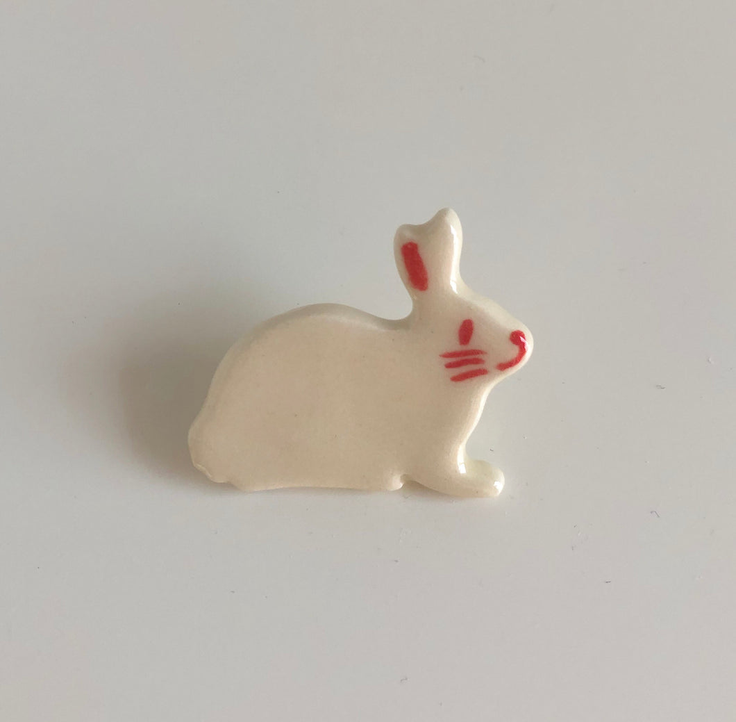 Pink and White Rabbit Pin