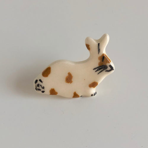 Brown Spotted Bunny Pin