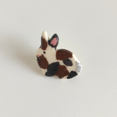 Brown and Black Spotted Bunny Pin