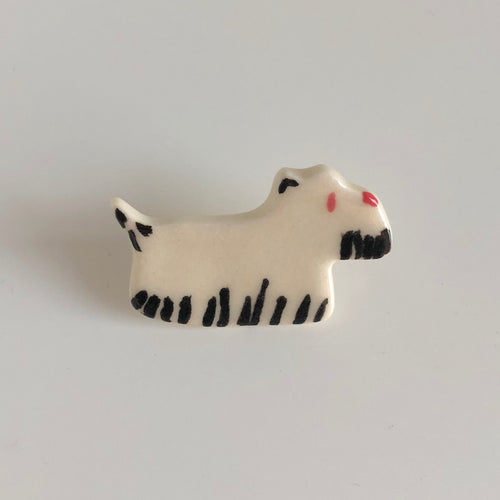 Pink and White Terrier Pin