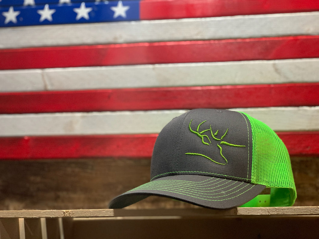 Nose Down Flo Green Mesh Back Hat