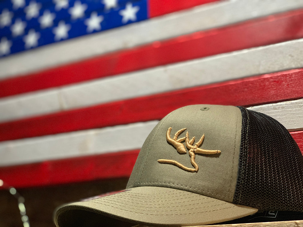 3D OD Green Hat Blk mesh Left deer 3d