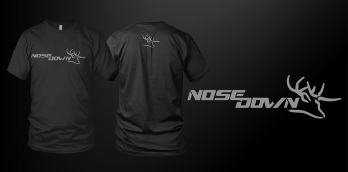Nose Down Stream Cotton T-Shirt Grey print