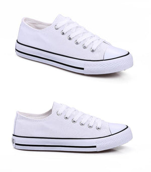 de3c3101b5 Women Low Top Lace Up Canvas Sneakers in White Sizes 5 to 12-Women Shoes