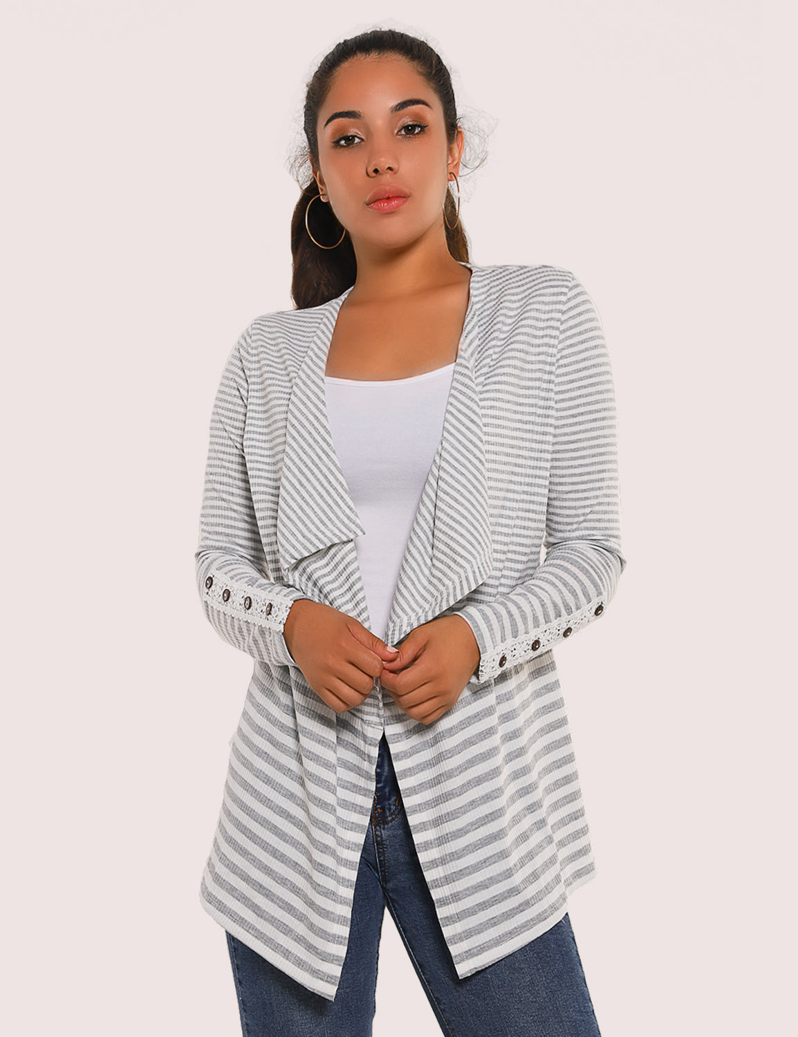 Blooming Jelly_Elegant Lace Sleeves Striped Thin Cardigan_Stripe Patchwork_296302_25_Autumn&Winter Women Open Front_Tops_Cardigan