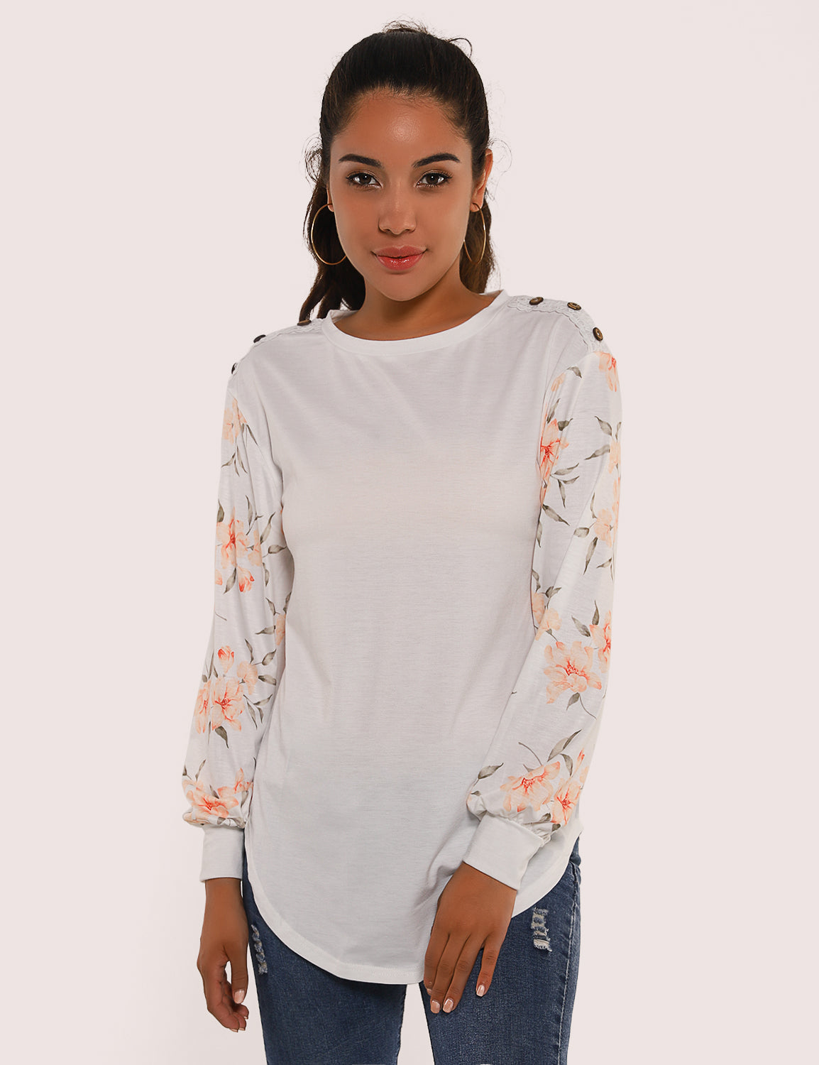 Blooming Jelly_Graceful Floral Sleeves Drop Shoulder Sweatshirt_Floral Print_156255_19_ELegant Women Daily Wear_Tops_Sweatshirt