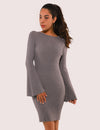 Blooming Jelly_Elegant Flare Sleeve Bodycon Party Dress_Gray_145061_07_Women Outdoor Elegant_Dress_Mini Dress