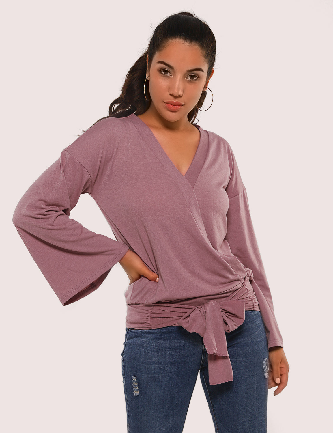 Tie Waist Flare Sleeves Wrap Blouse