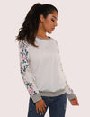 Blooming Jelly_Romantic Garden Floral Sleeves Loose Sweatshirt_Floral Print_303013_19_Casual Women Autumn&Winter_Tops_Sweatshirt
