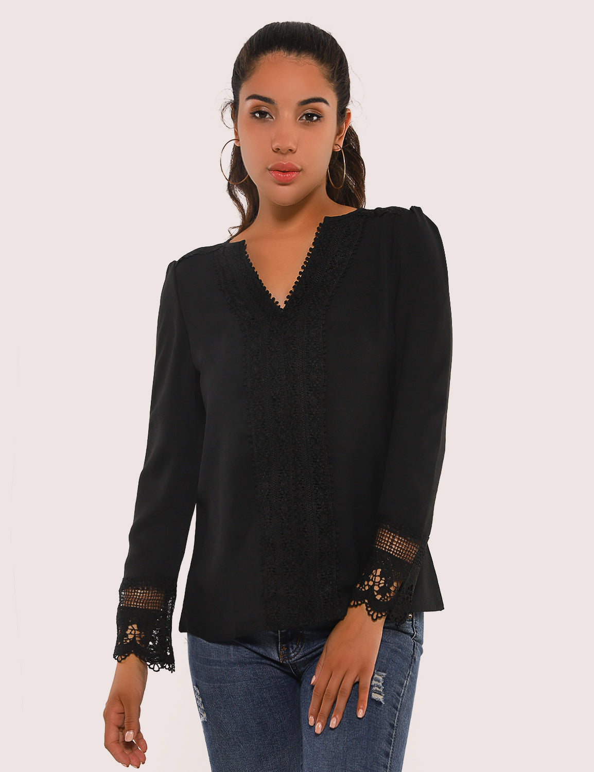 Lace Patchwork Tunic Top V Neck Blouse