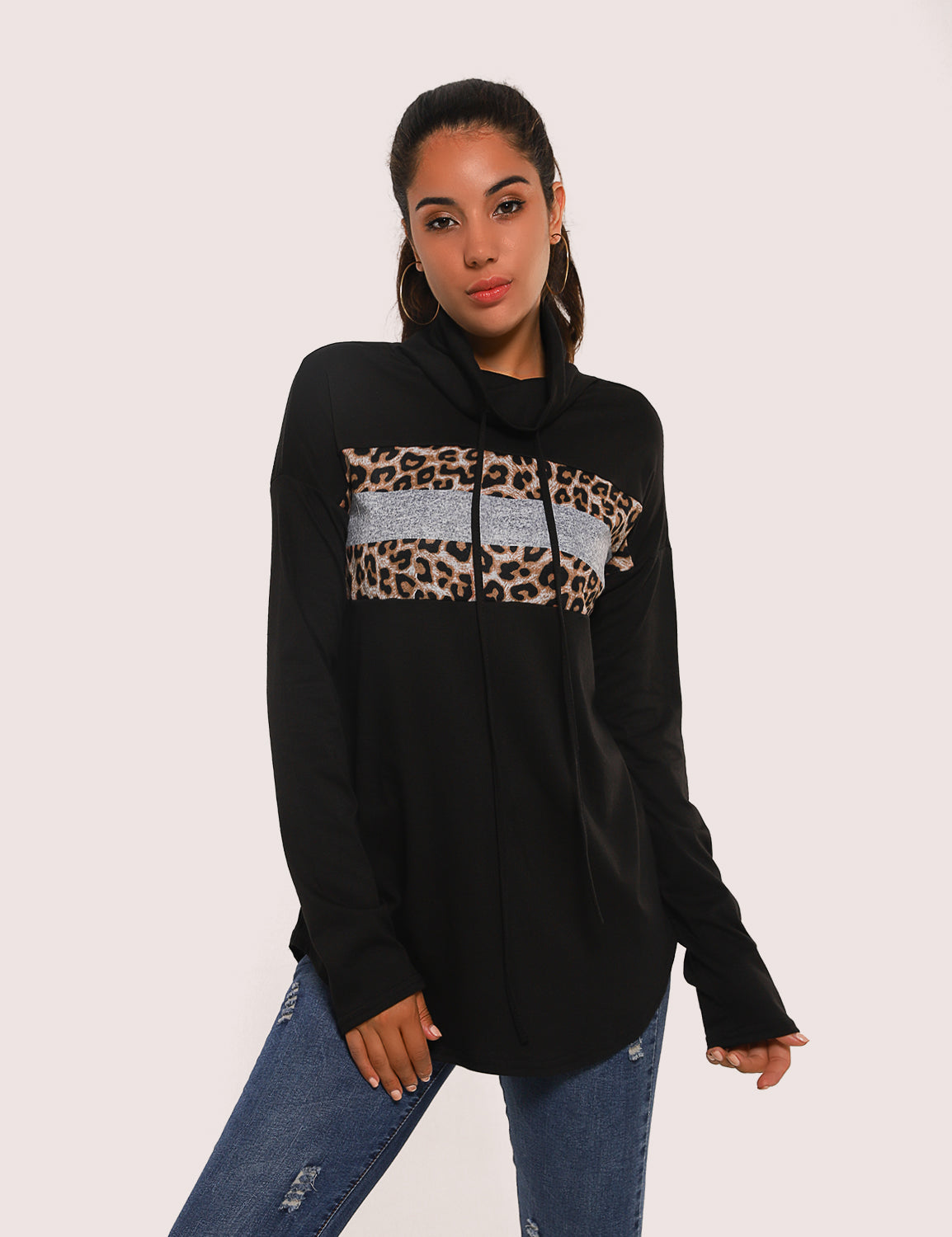 Blooming Jelly_Wild Leopard Patchwork Drawstring Sweatshirt_Leopard Patchwork_156265_02_Autumn&Winter Casual Women Outdoor_Tops_Sweatshirt