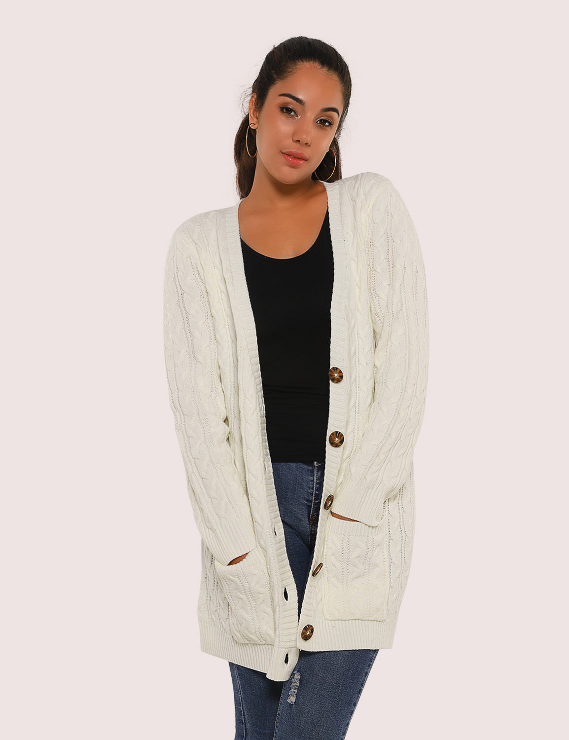 Cozy Up Open-Front Cable Knit Cardigan