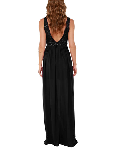 Backless Lace Zipper Summer Maxi Dress - Black - Blooming Jelly