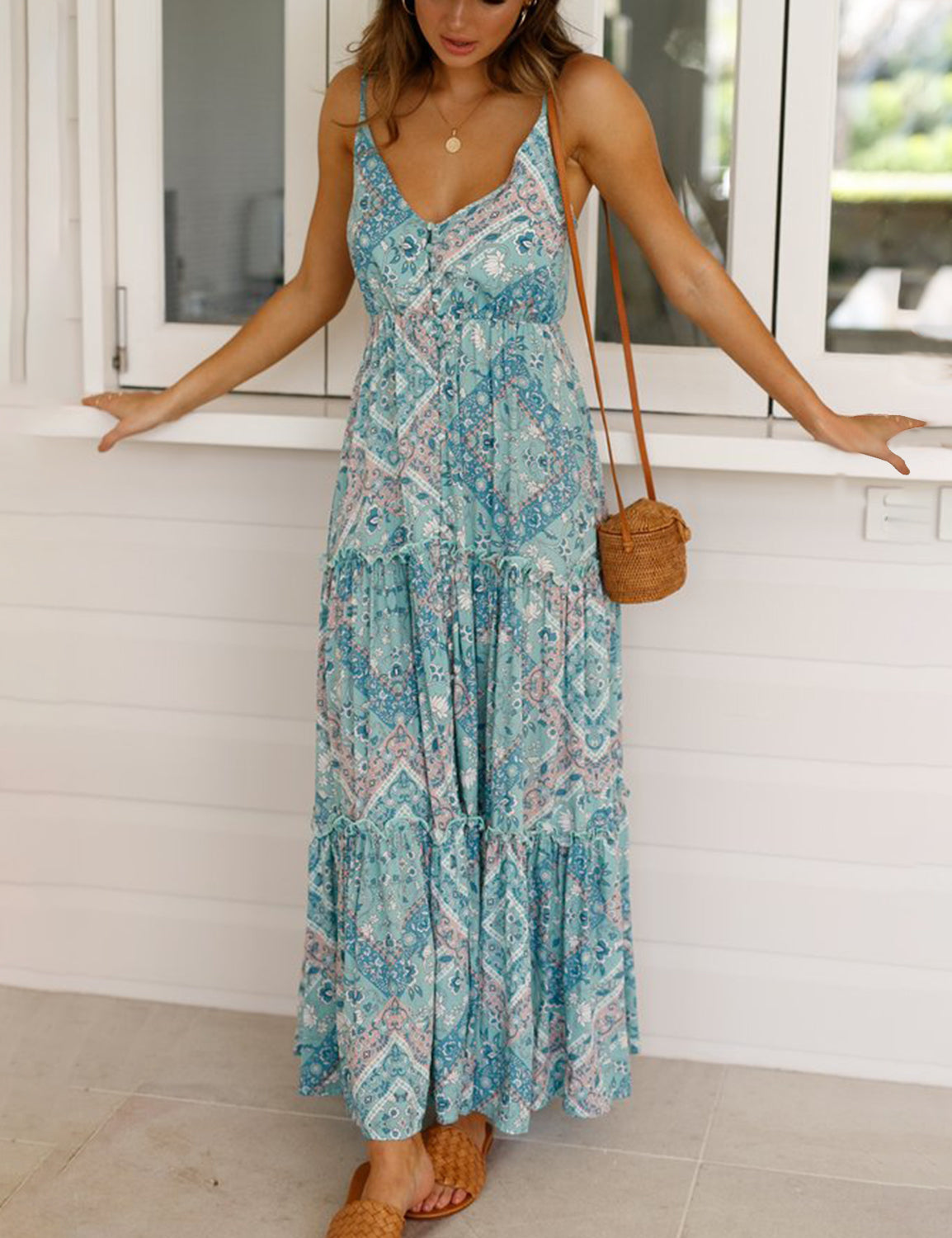 Boho Style V Neck Sleeveless Maxi Dress