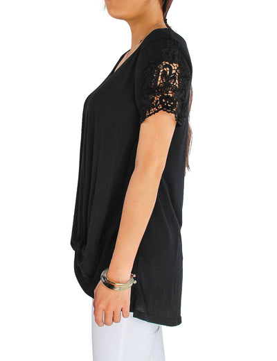 Lace Patchwork Sleeve T-shirt Knotted Top - Blooming Jelly